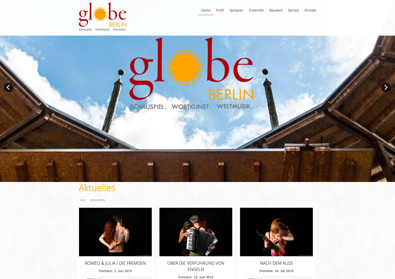Website Globe Berlin, 2019